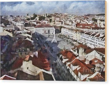 Wood Print featuring the photograph Rossio Square by Dariusz Gudowicz