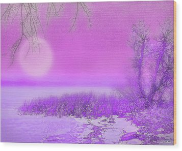 Rosy Hued Moonlit Lake - Boulder County Colorado Wood Print