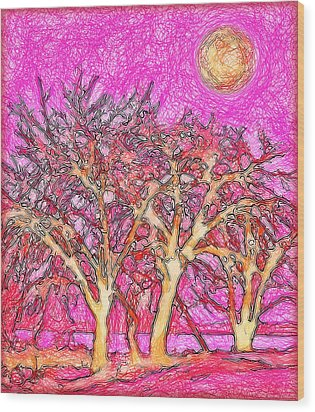 Wood Print featuring the digital art Rosy Hued Trees - Boulder County Colorado by Joel Bruce Wallach