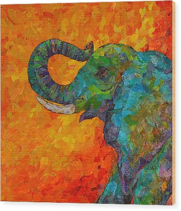 Rosy The Elephant Wood Print