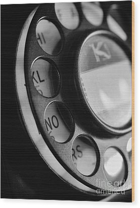 Rotary Dial In Black And White Wood Print by Mark Miller