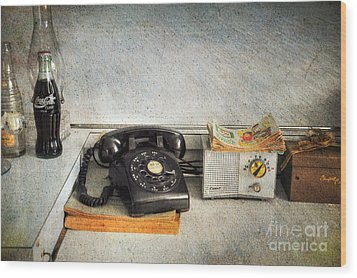 Rotary Dial Phone In Black S And H Stamps Wood Print by Paul Ward