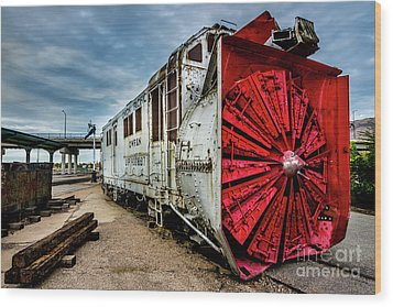 Wood Print featuring the photograph Rotary Snow Plow Vintage Train - Utah by Gary Whitton