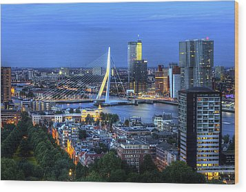 Wood Print featuring the photograph Rotterdam Skyline With Erasmus Bridge by Shawn Everhart