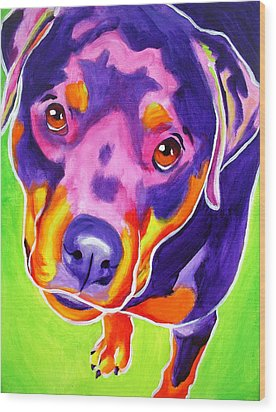 Rottweiler - Summer Puppy Love Wood Print by Alicia VanNoy Call