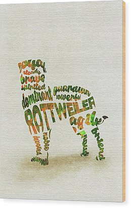 Wood Print featuring the painting Rottweiler Dog Watercolor Painting / Typographic Art by Inspirowl Design