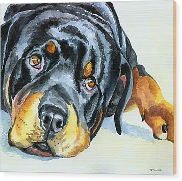 Rottweiler Wood Print by Lyn Cook