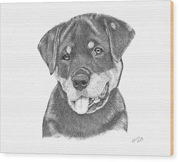 Rottweiler Puppy- Chloe Wood Print