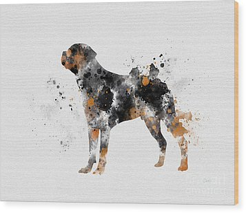 Rottweiler Wood Print by Rebecca Jenkins
