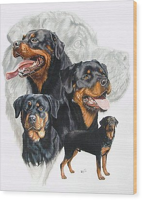 Rottweiler W/ghost  Wood Print by Barbara Keith