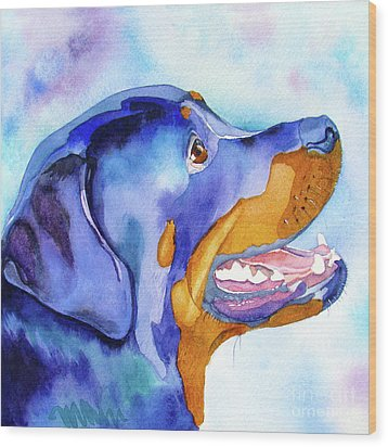 Rotty Rottweiler Blues Wood Print by Jo Lynch