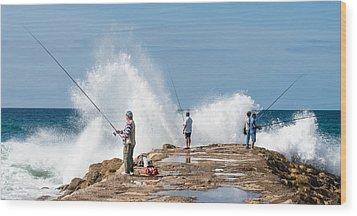 Rough Sea Fishing Wood Print