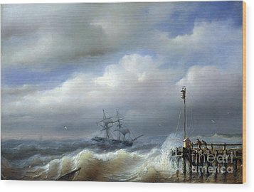 Rough Sea In Stormy Weather Wood Print by Paul Jean Clays