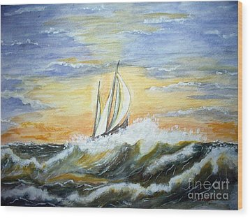 Wood Print featuring the painting Rough Seas by Carol Grimes
