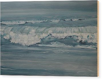 Rough Surf Wood Print by Amy Bernays