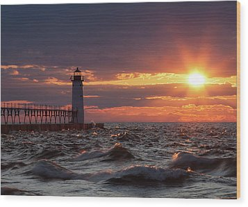 Wood Print featuring the photograph Rough Water Sunset by Fran Riley