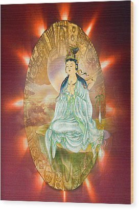 Wood Print featuring the photograph Round Halo Kuan Yin by Lanjee Chee