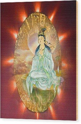 Round Halo Kuan Yin Wood Print by Lanjee Chee