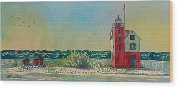 Wood Print featuring the painting Round Island Lighthouse by LeAnne Sowa