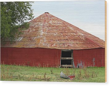 Wood Print featuring the photograph Round Red Barn by Sheila Brown