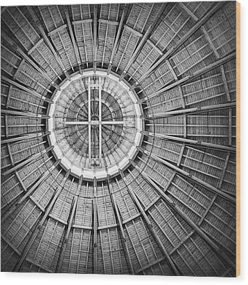 Roundhouse Architecture - Black And White Wood Print