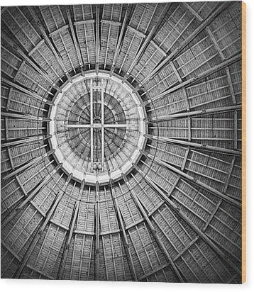 Roundhouse Architecture - Black And White Wood Print by Joseph Skompski