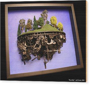 Roundup Wood Print by Jud  Turner
