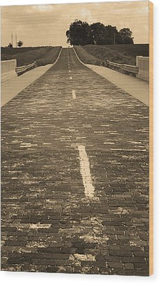Wood Print featuring the photograph Route 66 - Brick Highway 2 Sepia by Frank Romeo