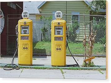 Route 66 - Illinois Gas Pumps Wood Print by Frank Romeo