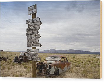 Route 66 In Arizona Wood Print by Carol M Highsmith