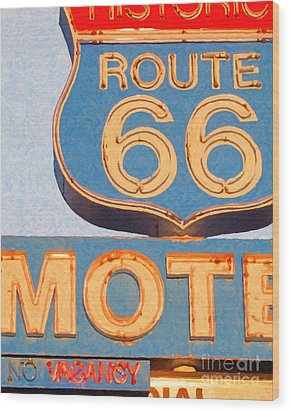 Route 66 Motel Seligman Arizona Wood Print by Wingsdomain Art and Photography