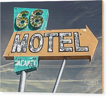 Route 66 Motel Sign Wood Print by Gregory Dyer