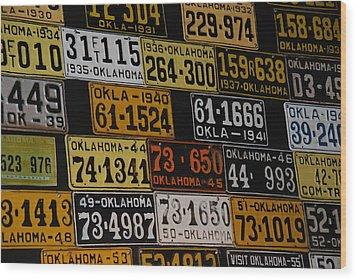 Route 66 Oklahoma Car Tags Wood Print by Susanne Van Hulst