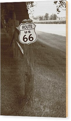 Wood Print featuring the photograph Route 66 Shield And Fence Sepia Post by Frank Romeo