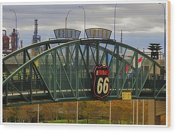 Route 66 Tulsa Sign - Hdr Wood Print by Tony Grider