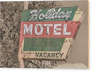 Wood Print featuring the photograph Route 66 Vintage Americana Holiday Motel by JC Findley