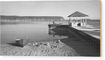 Row Boat And Dock At Ephriam Wood Print by Stephen Mack