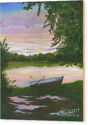 Wood Print featuring the painting Row Boat Painting by Judy Filarecki