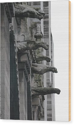 Wood Print featuring the photograph Row Of Gargoyles by Christopher Kirby
