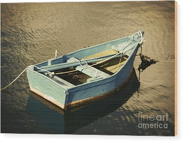 Rowboat At Twilight Wood Print by Mary Machare