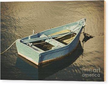 Rowboat At Twilight Wood Print