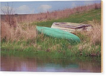 Wood Print featuring the photograph Rowboat - Canoe by Nikolyn McDonald