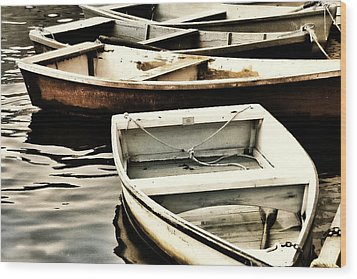 Rowboats In Maine Wood Print by Tony Grider