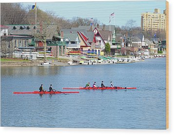 Rowing Along The Schuylkill River Wood Print