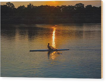 Rowing At Sunset 2 Wood Print by Bill Cannon