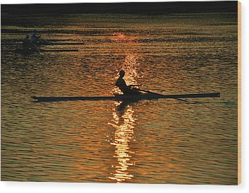 Rowing At Sunset 3 Wood Print by Bill Cannon