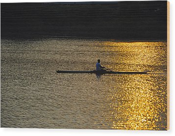 Rowing At Sunset Wood Print by Bill Cannon