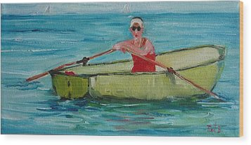 Rowing Away Wood Print by Irit Bourla