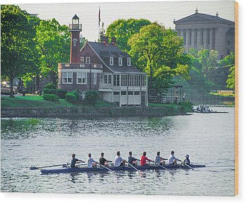 Wood Print featuring the photograph Rowing Crew In Philadelphia In The Spring by Bill Cannon