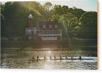 Wood Print featuring the photograph Rowing In Front Of Segley Club by Bill Cannon